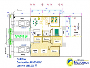 Floor plan of affordable home in Puerto Morelos
